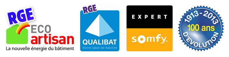 Logos RGE eco artisan, RGE Qualibat, Expert Somfy et 100 ans Arnaud et Blanc