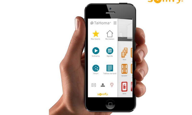 Interface smartphone Tahoma pour effectuer des réglages Somfy
