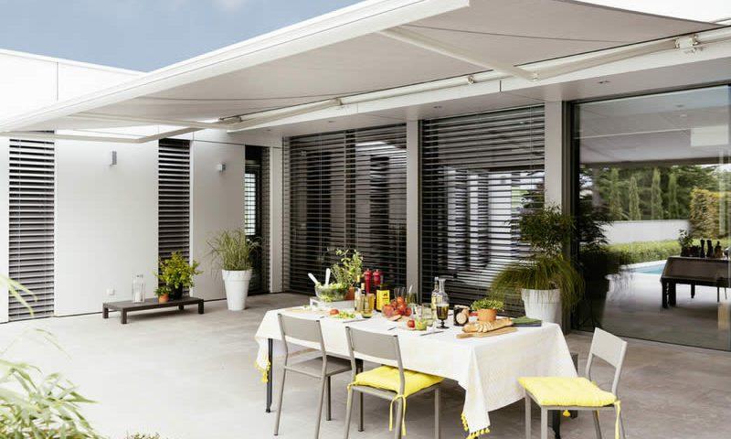 Store Duo 400 blanc pour terrasse Arnaud et Blanc