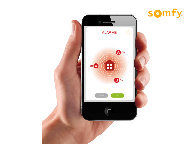 Interface smartphone alarme pour effectuer des réglages Somfy