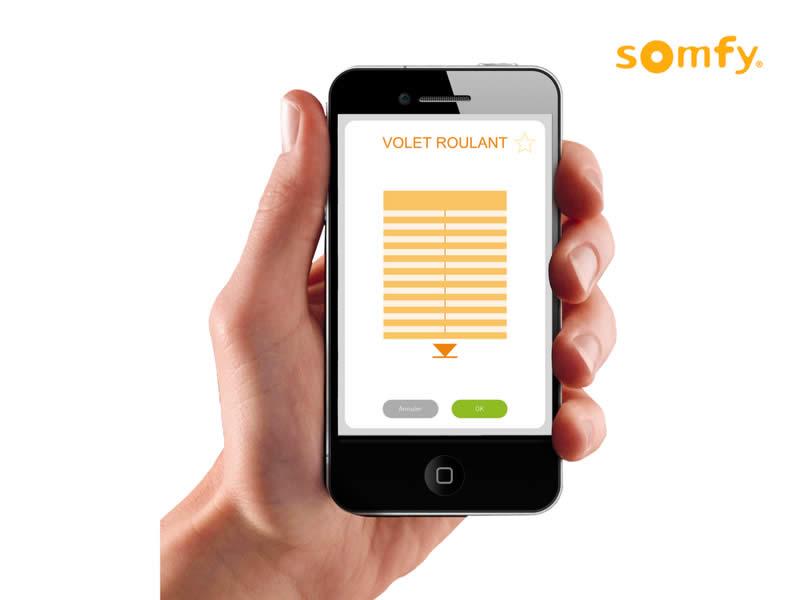 Interface smartphone store pour effectuer des réglages Somfy
